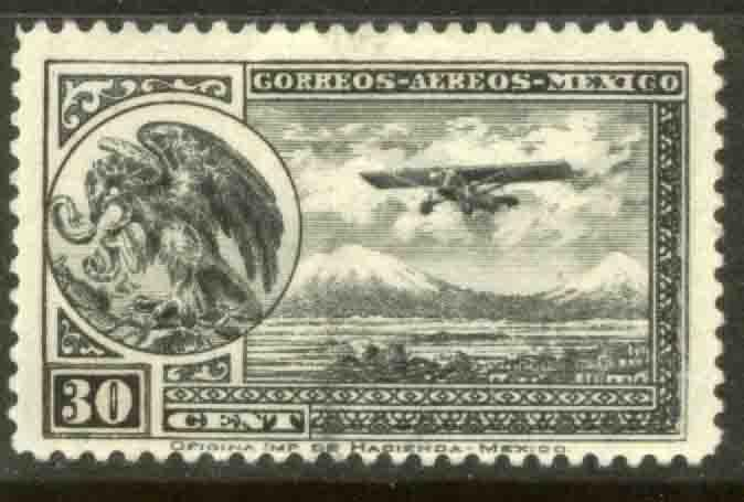 MEXICO C14 30cts Early Air Mail Plane and coat of arms MNH