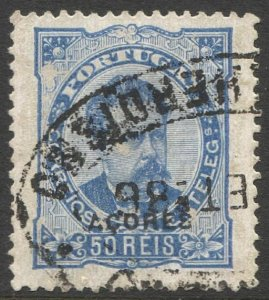 AZORES Porgugese Colonies 1882 Sc 52d  F-VF 50r Used, Perf 13 1/2
