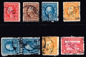 US STAMP  PERFIN USED STAMPS COLLECTION LOT