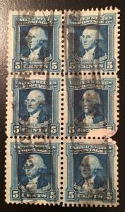 710 Washington Series, Circulated block of 6 with damage, Vic's Stamp Stash