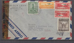 GUATEMALA,1943 censored airmail cover, Guatemala City to USA,1c, 3c, 5c, 15c.(2)