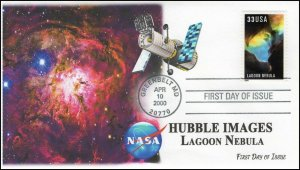 AO-3386, 2000, Hubble Images, First Day Cover, Add-on Cachet, Lagoon Nebula.