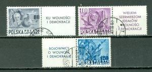 POLAND 1948 ROSEVELT #C26A-C...USED SET WITH TABS...$90.00+++++