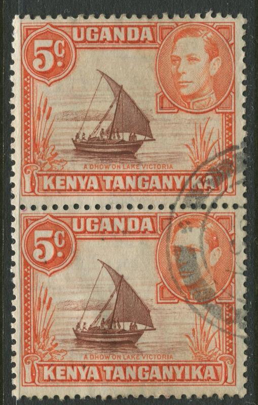 Kenya & Uganda - Scott 68 - KGVI Definitive -1949 - Used - Vert. Pair 5c Stamp