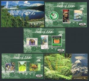 New Zealand 1404 note:Best of 1996,3 souvenir sheets,MNH.