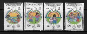 Caicos Islands 65-68 IYY Youth Year set MNH