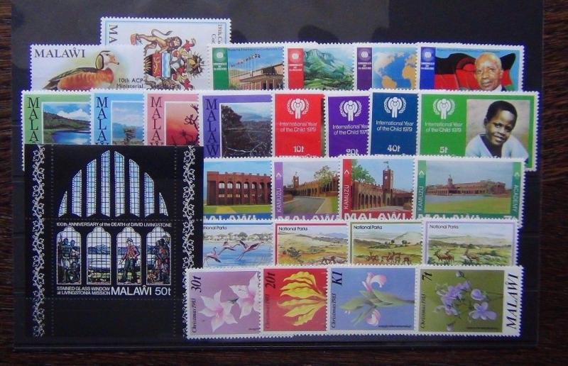 Malawi 1972 1983 sets Livingstone Parliament IYC Commonwealth Parks etc MNH