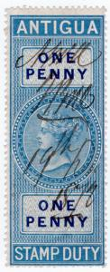 (I.B) Antigua Revenue : Duty Stamp 1d (1870)