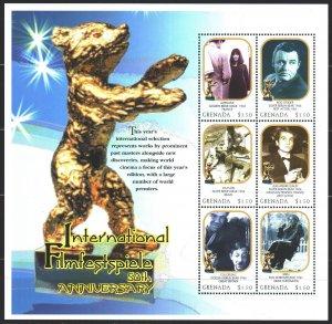 Grenada. 2000. Small sheet 4183-88. 50 years of the Berlin Film Festival, mot...