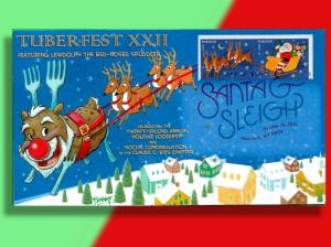 Potato Rudolph Leads Santa's Sleigh on TuberFest First Day Cover from 2012