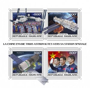 TOGO - 2021 - Chinese Astronauts - Perf 4v Sheet - Mint Never Hinged