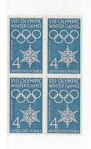 United States, 1146, 4c Winter Olympics Block(4),MNH