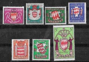 Monaco # 312-18  Grimaldi Arms    (7)   Mint NH
