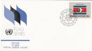 UN32) United Nations 1982 Swaziland SSR 20c Stamp - Flag Series FDC. Price: $4