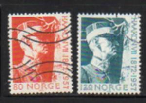 Norway Sc  590-1 1972 Haakon VIIstamp set used