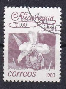 Nicaragua  #1219 1983 Sobralia macrantha 1.00c Stamp used.
