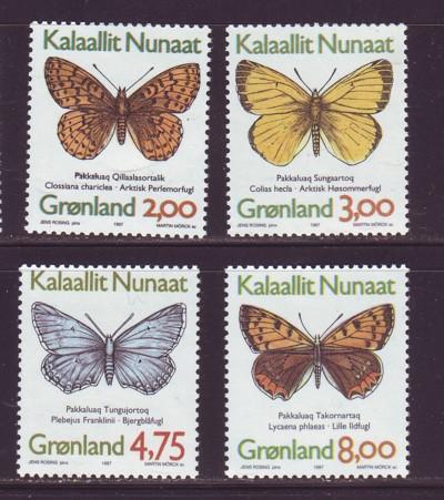 Greenland Sc 315-8 1997 Butterflies stamp set mint NH