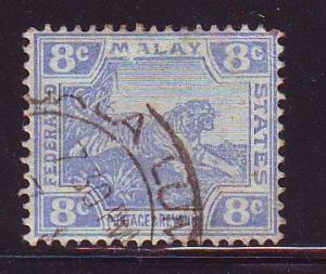 Malaya Sc 46 1909 8c tiger stamp used