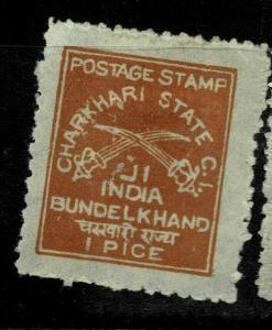 INDIA  - CHARKHARI - 1909- 1/2A  - SG NO 15, CHESTNUT ???- LMM