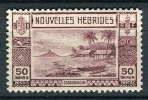 FRENCH; NEW HEBRIDES 1938 early pictorial issue fine Mint hinged 50c. value