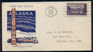 US #800, 3¢ Alaska FDC, Pavois cachet, VF, Mellone $20.00