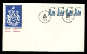 Canada-Sc#729-stamps on FDC-coil strip-Houses of Parliament-1977-