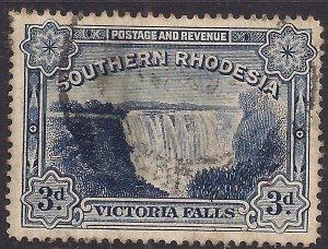 Southern Rhodesia 1935 - 41 KGV 3d Blue Victoria Fall used SG 35b ( F691 )