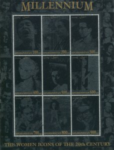 MILLENNIUM THE WOMEN ICONS 20th.CENTURY Silver Sheet Perforated Mint (NH)