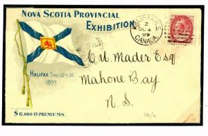 W200a 1899 CANADA *Nova Scotia Exhibition* FLAG VIGNETTE Advert Cover Malone Bay