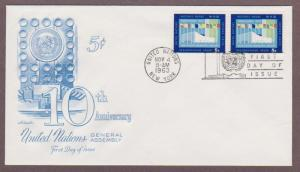 UN # 119 , General Assembly Hall NY Pair on Artmaster FDC - I Combine S/H