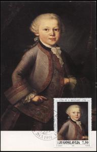 Yugoslavia. 1991. 200 anniversary of the death of Mozart (Mint) Maximum Card