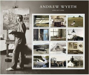Andrew Wyeth Sheet of 12 Postage Stamps American Artist Paintings Scott 5212a