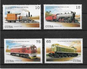 Cuba MNH 3885-9 Cuban Railroad Trains SCV 4.20