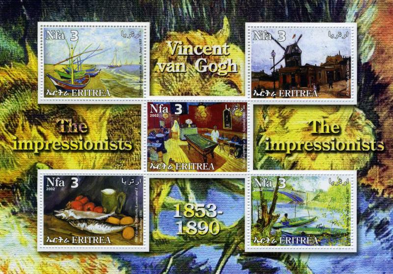 Eritrea 2002 Vincent Van Gogh Paintings Sheet Perforated mnh.vf