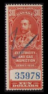 CANADA REVENUE TAX 1930 $10 #FEG7 F USED SCARCE ELECTRIC & GAS INSPECTION STAMP
