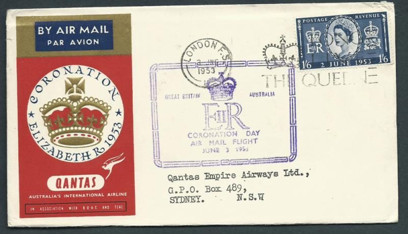 GB 1953 Coronation Flight Cover   London to Sydney -  air...