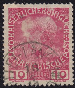 Austria - 1908 - Scott #115 - used - MITTEL-LANGENAU pmk Czech Republic