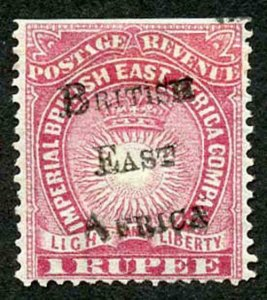 British East Africa SG43 1r carmine M/M trimmed perfs at top Cat 75 pounds