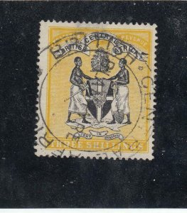 BRITISH CENTRAL AFRICA # 38 3sh COAT OF ARMS SUPERB SON CANCEL(Thinned)CV $68