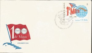 V) 1990 CARIBBEAN, LABOR DAY, CENTENARY, FLAG, MAP OF CUBA, WITH SLOGAN CANCE...