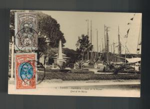 1924 Papeete Tahiti Picture Postcard  Cover Quay of the MArne Marina