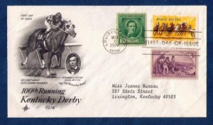 US Sc 1528 Postal History Cover100th Kentucky Derby / Sc 879 & Sc 904 (1974):