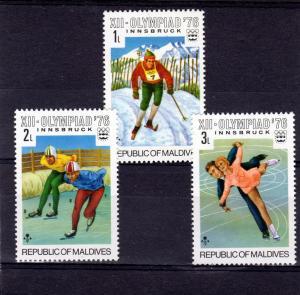 Maldive Islands 1976 Olympics Short Set (3) Sc#613/5 X 10