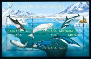 [99658] Grenada 2001 Marine Life Whales Dolphins Sheet MNH