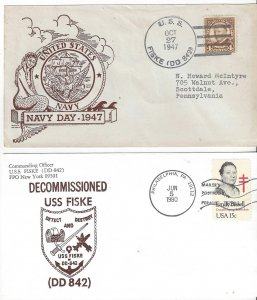 US Naval Cover USS Fiske DD 842  Navy Day 1947 & Decommissioning