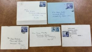 {BJ STAMPS} 5 1947 CYPRUS covers Fan mail  Ann Blyth,Maria Montez, Joan Fontaine