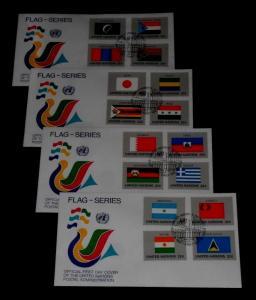 U.N. 1987, NEW YORK #499-514, FLAG SERIES, SINGLES ON FDCs, NICE! LQQK!
