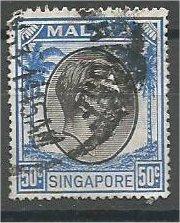 SINGAPORE, 1952, used 50c, King George VI, Scott 17