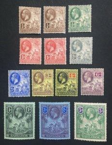 MOMEN: BARBADOS SG #170-180 1912-16 MINT OG H LOT #60658