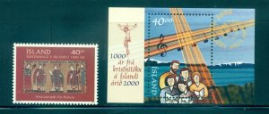 Iceland - Sc# 900-1. 2000 Christianity in Iceland. MNH. $2.50.